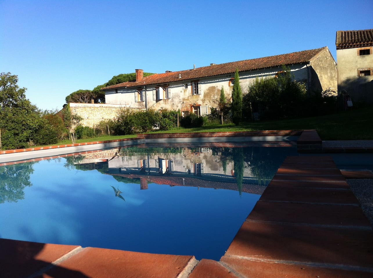 Behind the farm ,the swimming pool