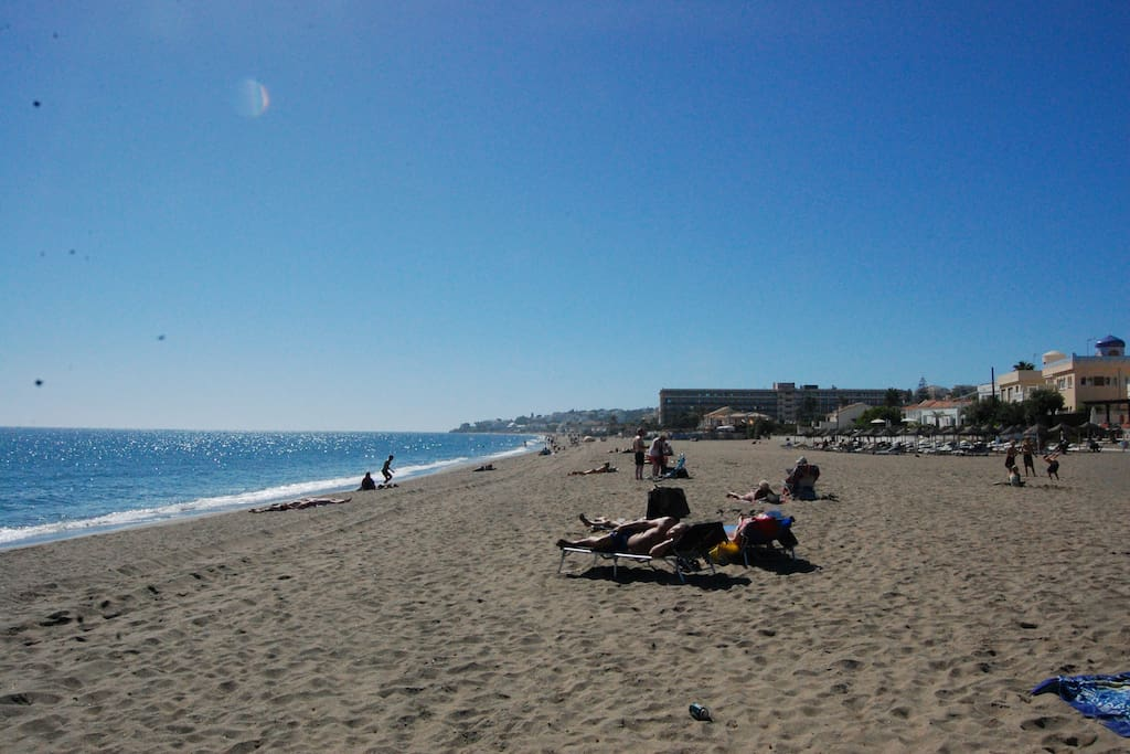The beach in Fuengirola - get there by car, bus or walking( walking distance ca. 35 minutes)