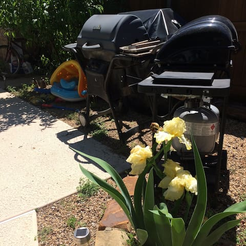 Now 3 grills to choose from: One charcoal and Two  propane gas.  All supplies provided!