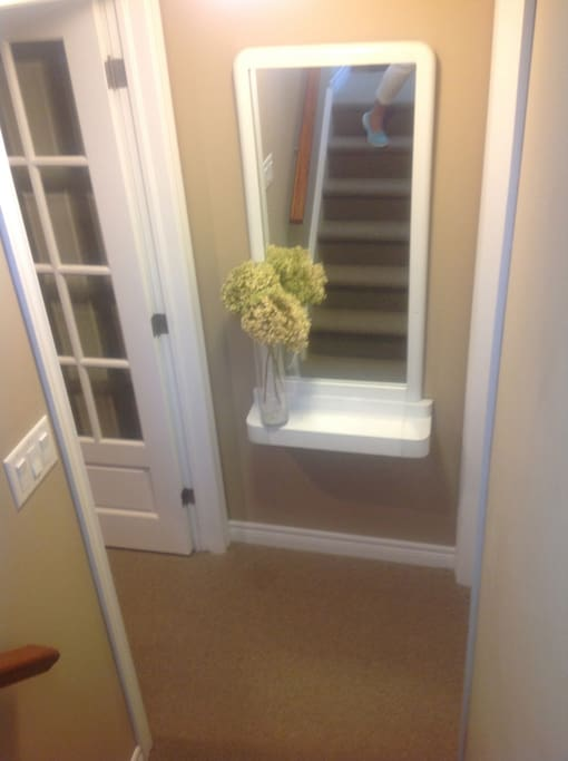 Entrance way is downstairs from front door.