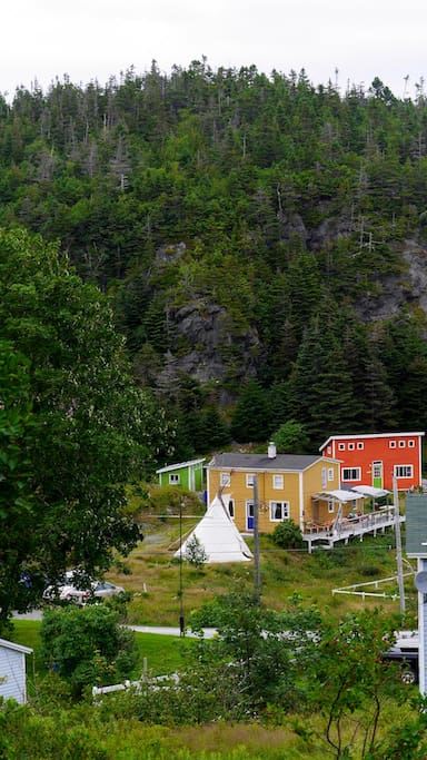 View of the compound from up the hill en route to LaManche swinging bridge.