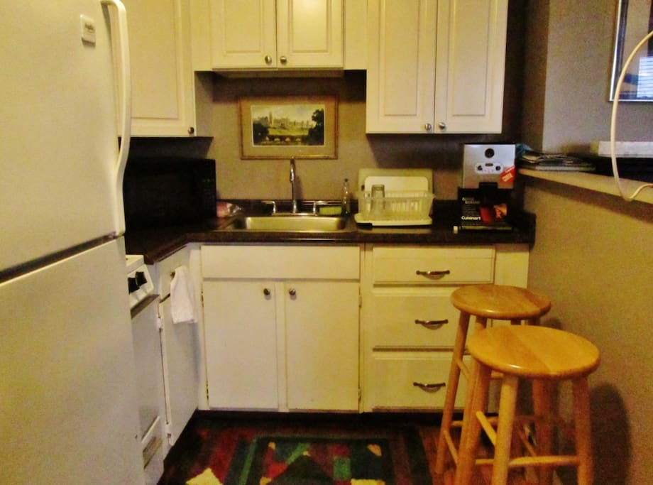 Small kitchen has everything you need to cook meals.