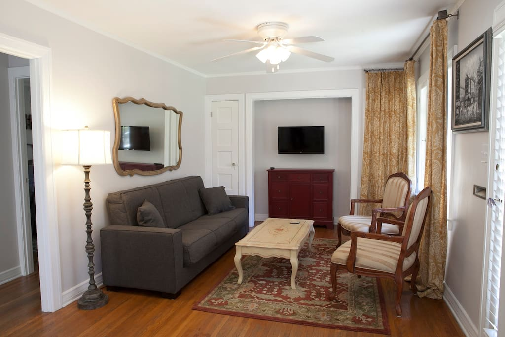 Warm and welcoming living room.  Sofa easily converts to an exceptionally comfortable full bed.