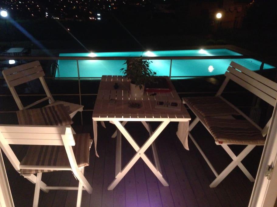 Front Balcony at night.