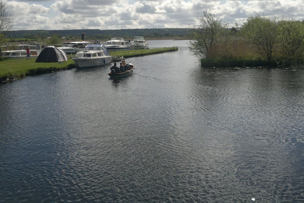 Boats available to explore Grange Lake and 16 connected nearby lakes
