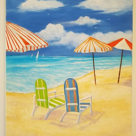 "Art in Flamingo Royale. ""A Day at the Beach"" Artist Suzanne Peck."