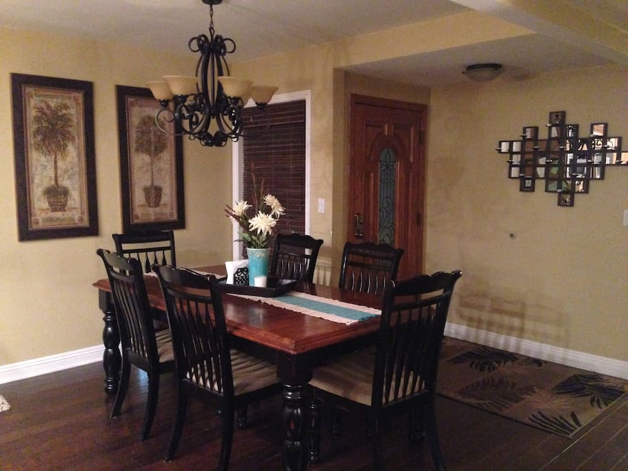 Dining for 6, card table with 4 folding chairs available also