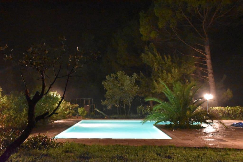Vue de la chambre 2 - La nuit  Piscine sécurisée aux normes Afnor, à débordement sous margelle, traitée au sel pour votre plus grand confort, spacieuse en L (11X5) + (4X3) = 67 m², près de la villa et entourée de lauriers roses.