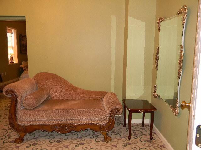 Facing into the bedroom (see open door)