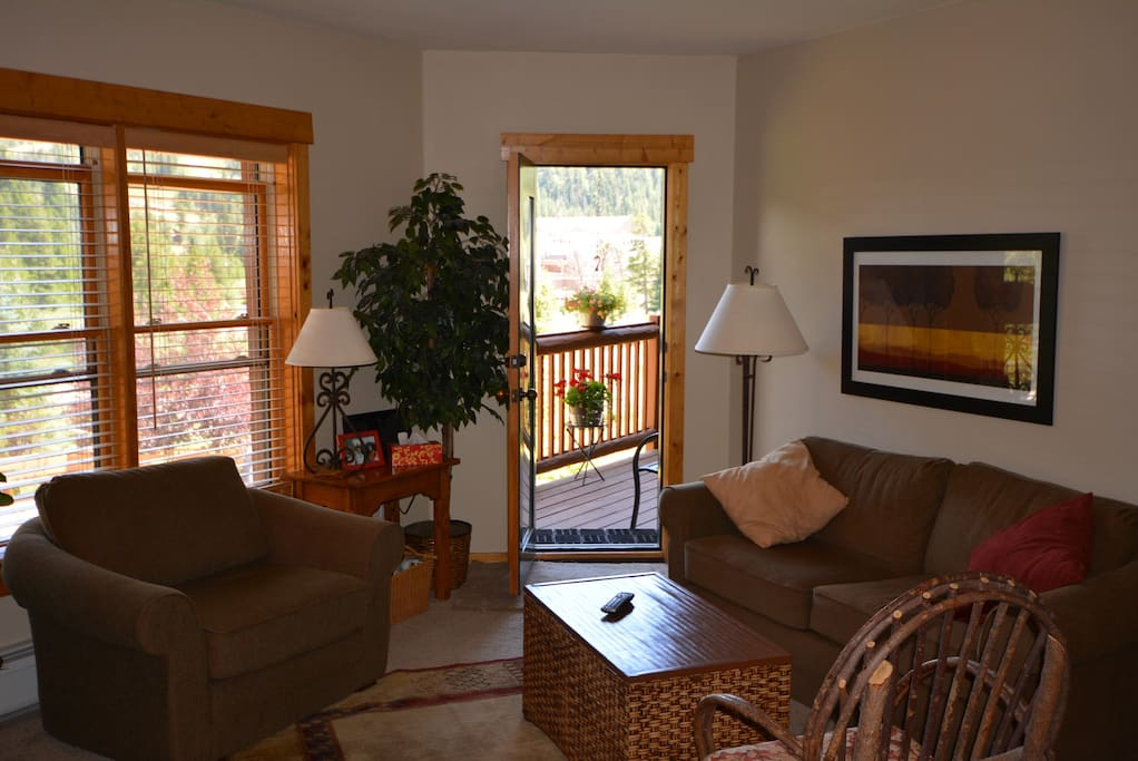 Living area opens on to deck w/beautiful mountain views and Keystone!