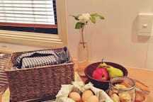 Enjoy country style breakfast of freshly collected farm eggs, home backed bread and much more.