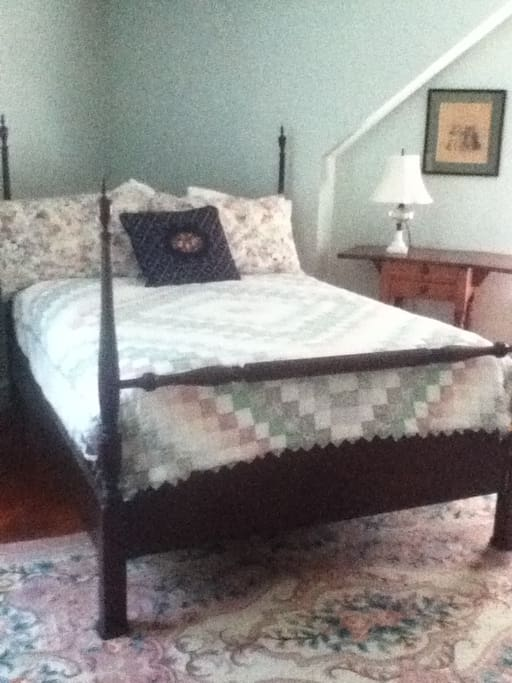 This bedroom has a firmer mattress