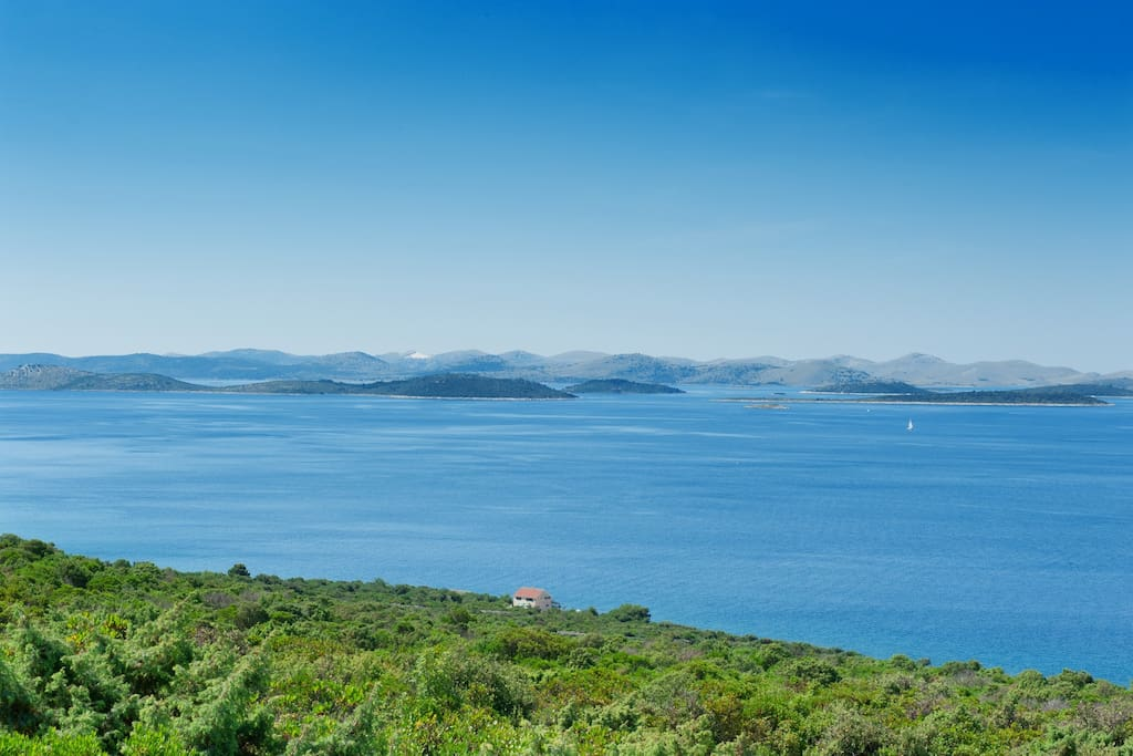 View on the house and Kornati National Park.