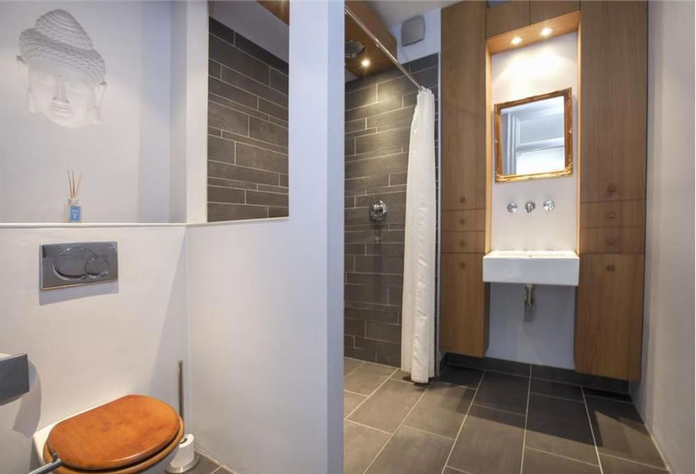 The bathroom with lots of original details and custom made interior
