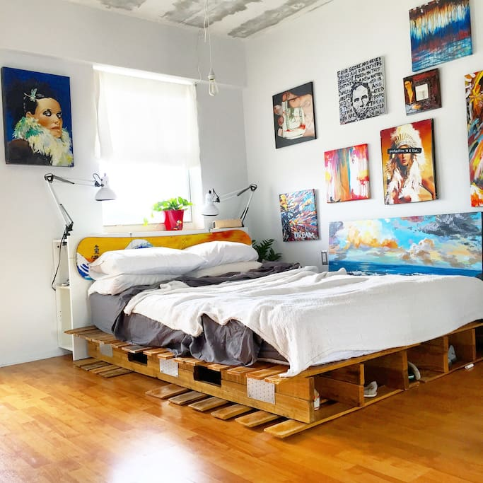 Crafted bed frame.