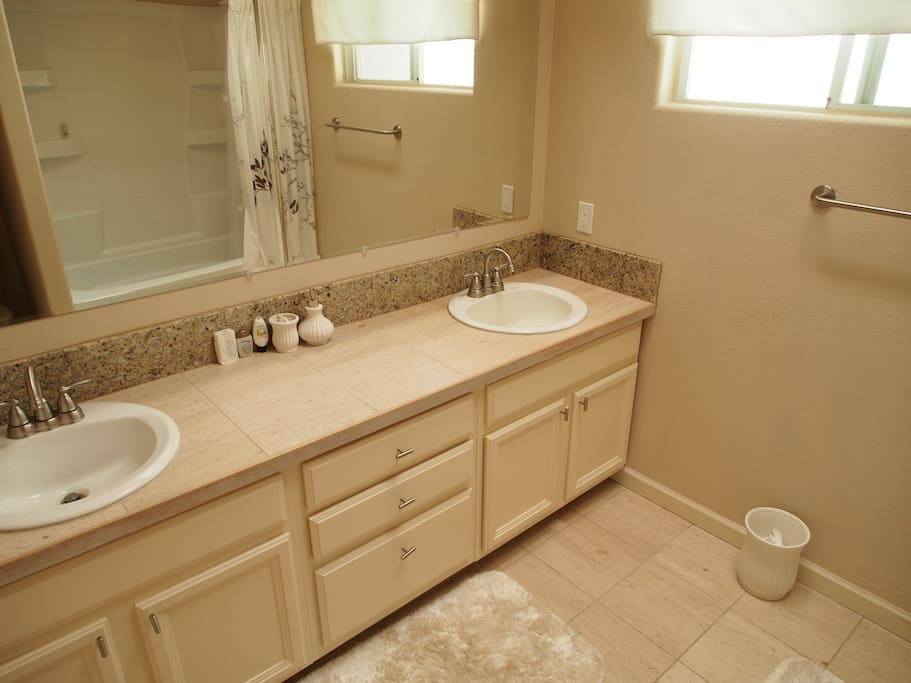 Double sink in the master bath.