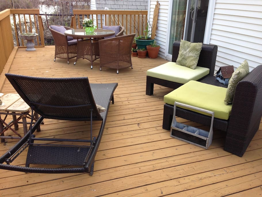 A twelve foot deck from which to enjoy the river and view in Spring, Summer and Fall.