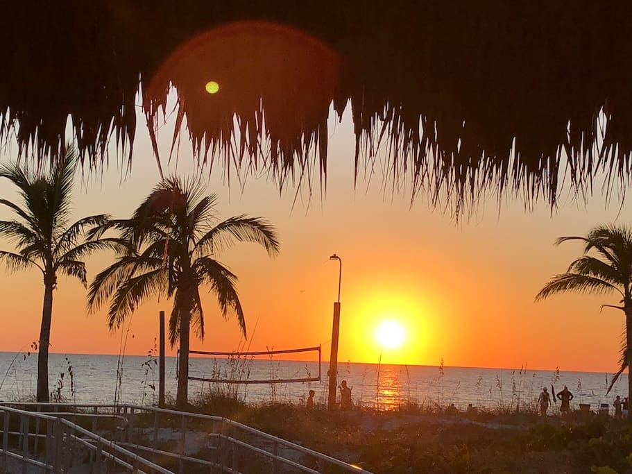 stop by the tiki deck on Maderia beach and listen to music as the sun goes down