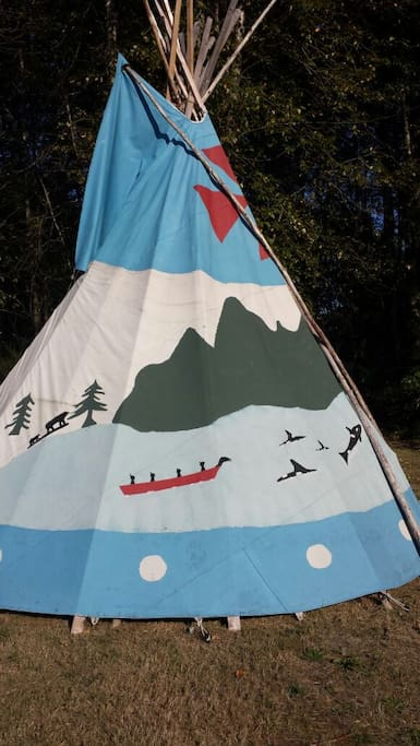 Hand painted orca tipi