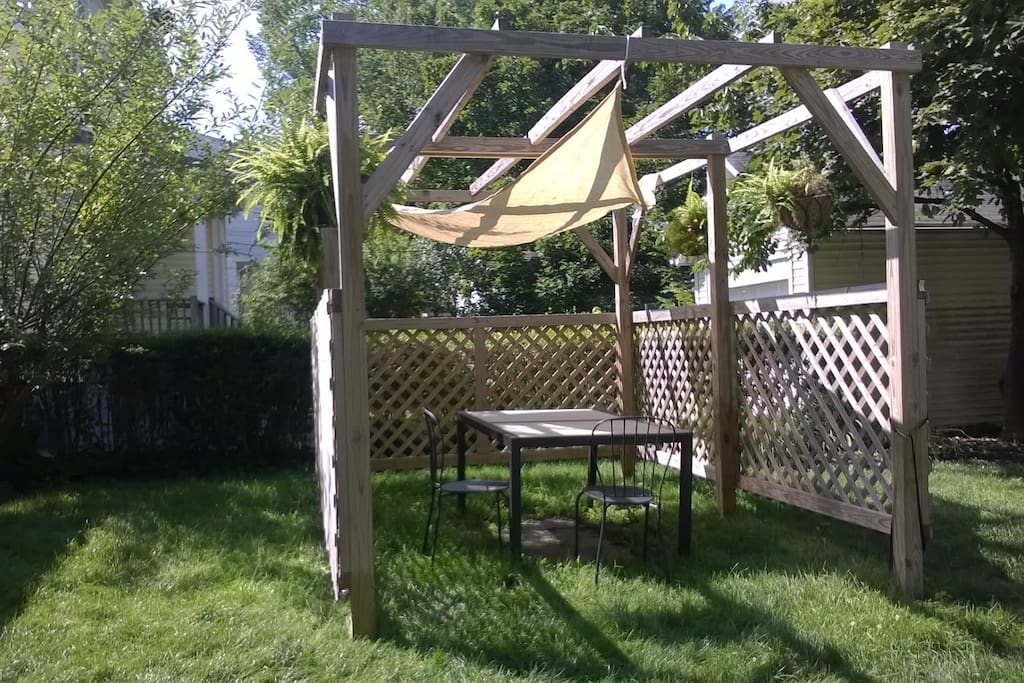 Our shady gazebo, great place for coffee, reading and conversation.