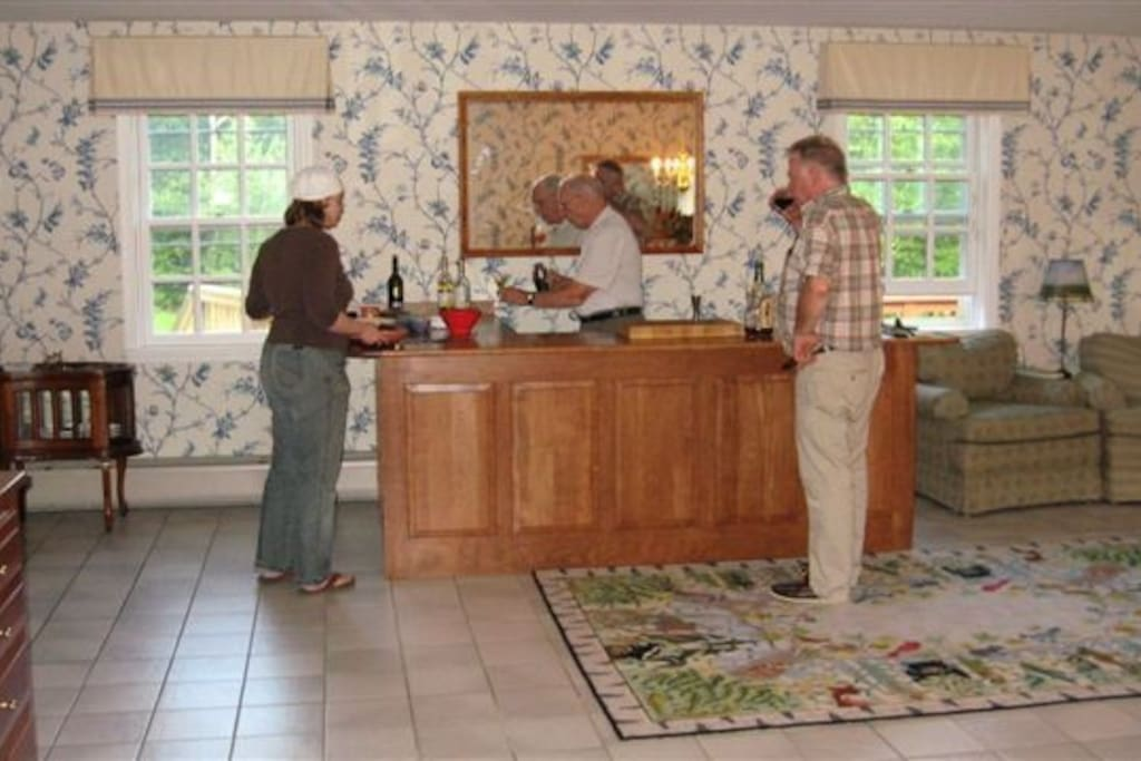 Bar and buffet set-up in dining room.