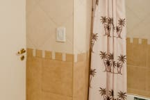 Bathroom shower with palm trees curtain....