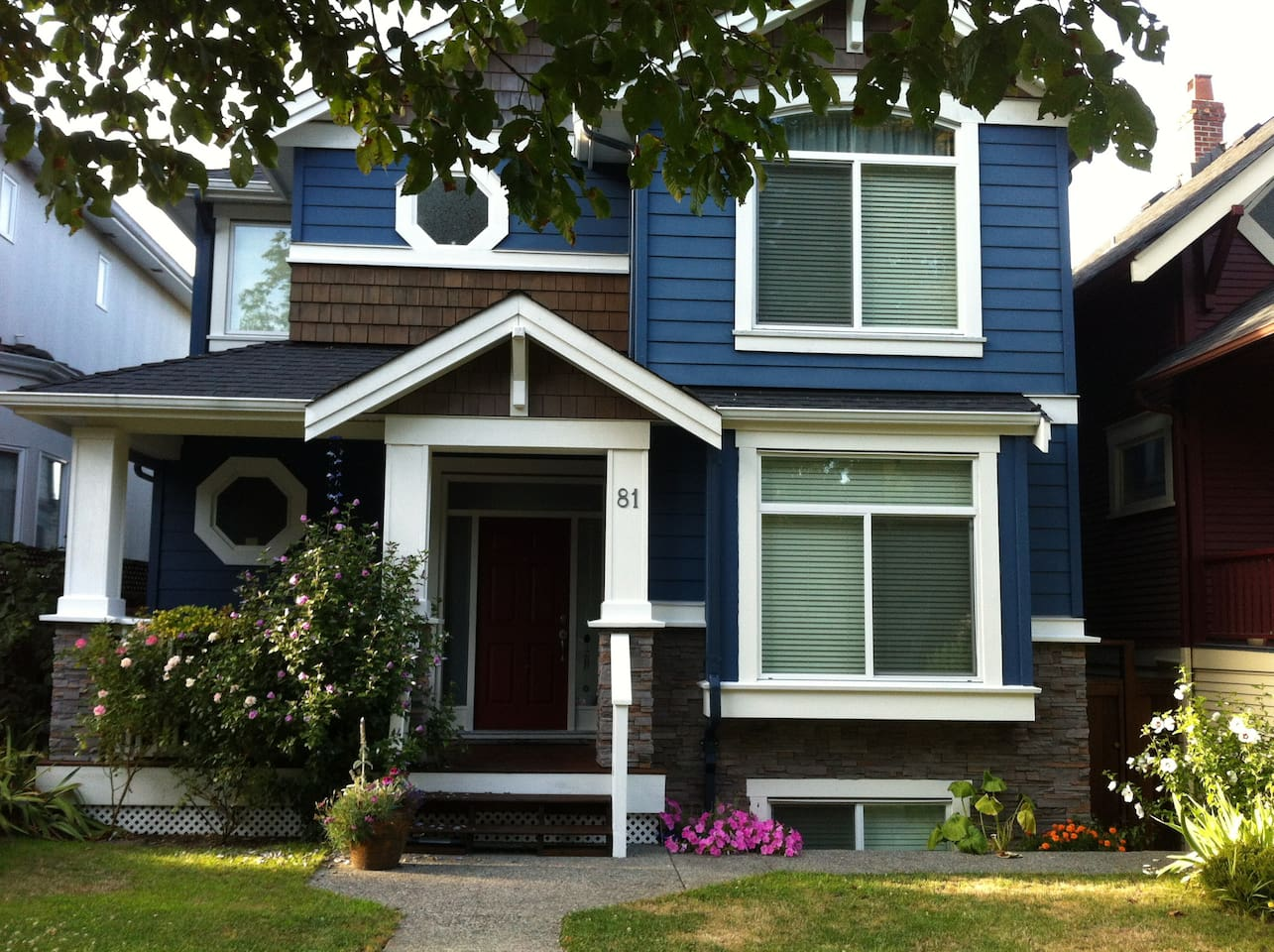 Newer craftsman style home on a quiet tree lined street.