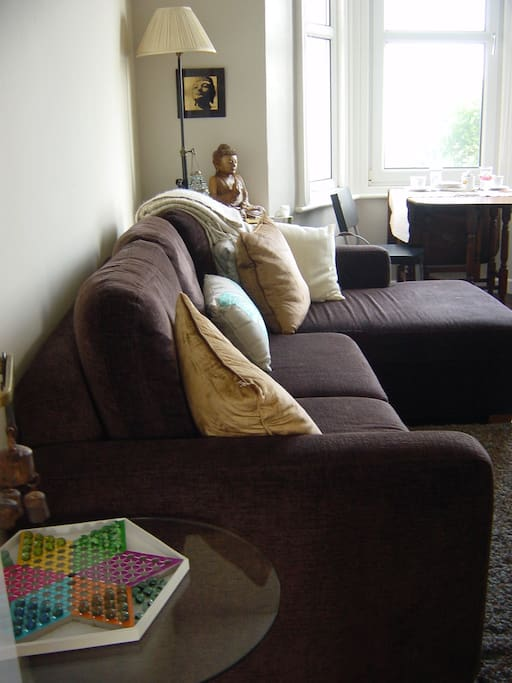 Lounge has a pull-out double sofa bed, plus there's an extra single roller-bed in storage cupboard