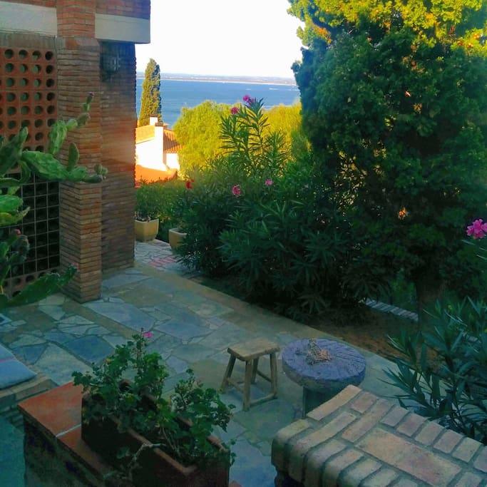 Terraza con jardin y mar de fondo