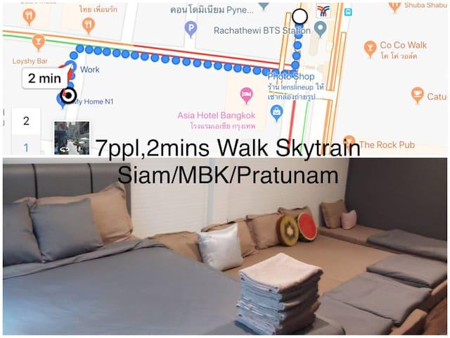 2 Mins walk BTS,7pp,Siam,CTW,MBK