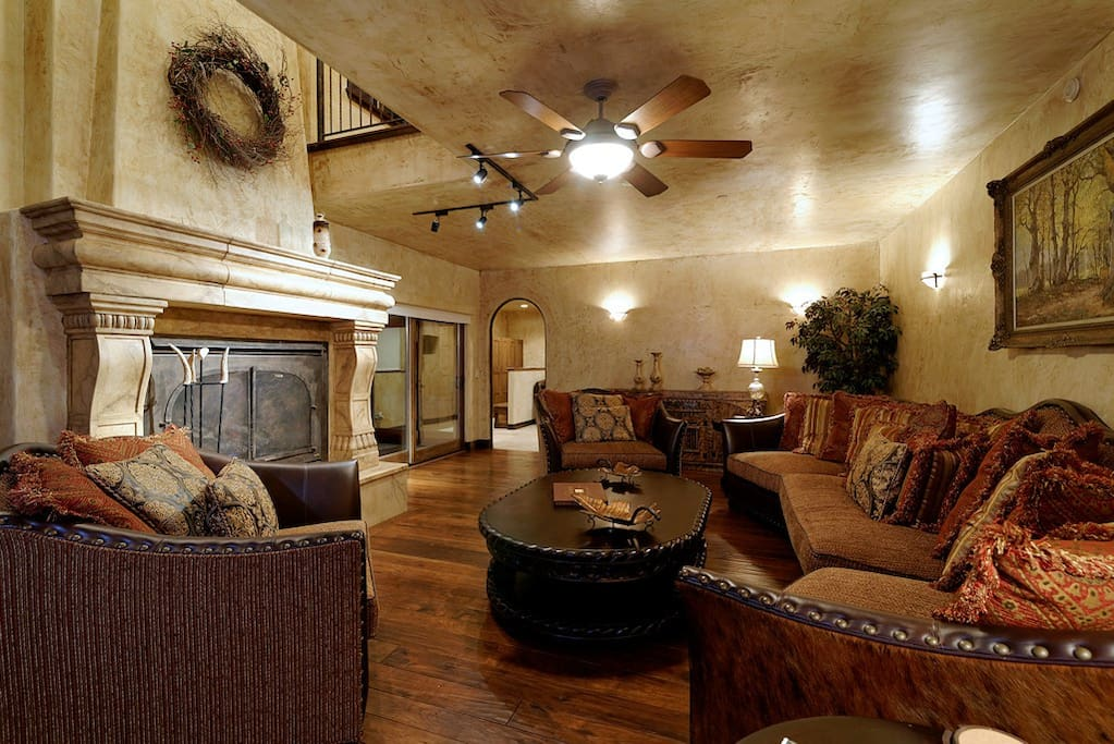 with fireplace and piano