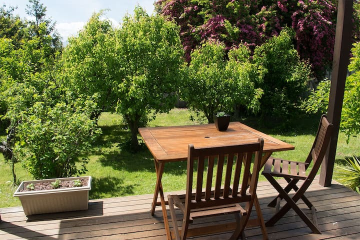 Your own private deck looking out over the orchard
