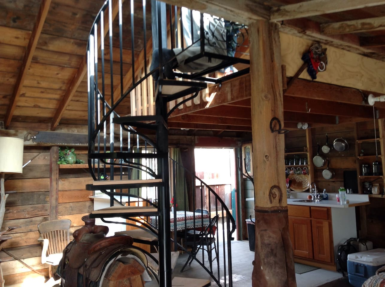 This is what you see upon entering the Bunk House. It is one room with a play loft above.  It is available from May to end of September.