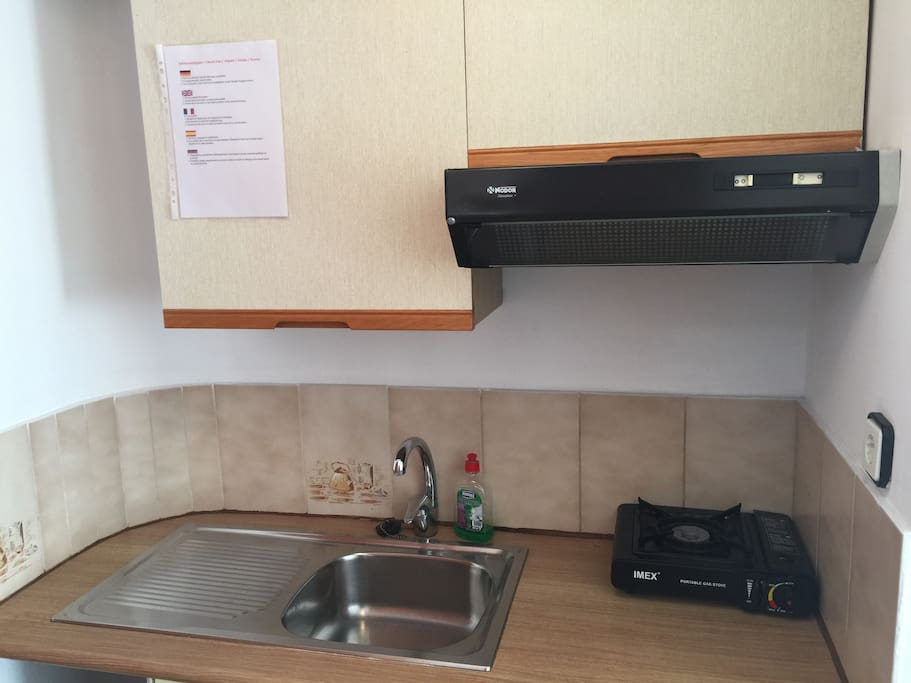 very small kitchnette with fridge (70L).