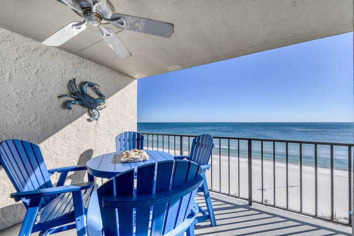 Low density, Gulf front condo w/ stunning views, outdoor pools, & beach access!