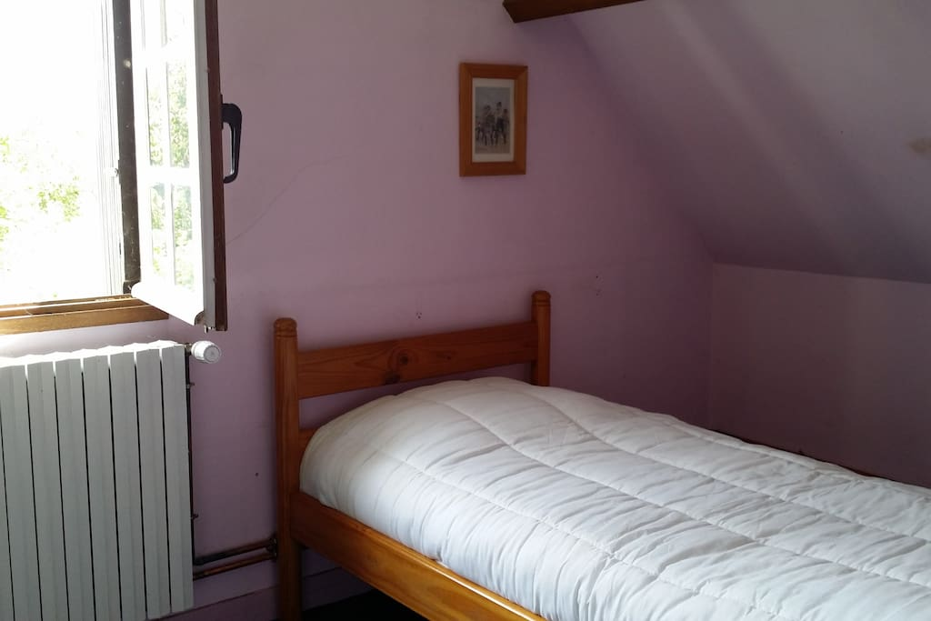 Chambre 3, un lit de 1 personne orientée plein Est vue sur l'allée du chateau