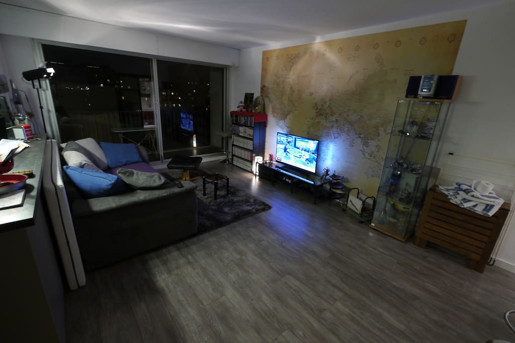 Living room with ambilight TV