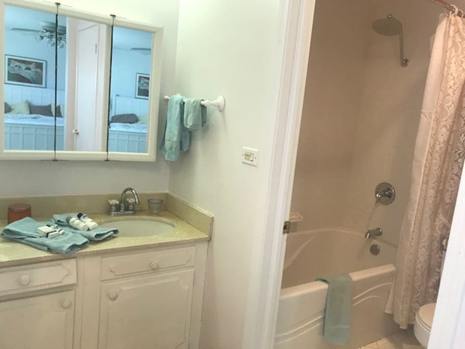 Your Bathroom Ensuite with complimentary toiletries, bathrobes, soft towels. Relax in large soaking tub and rain shower.