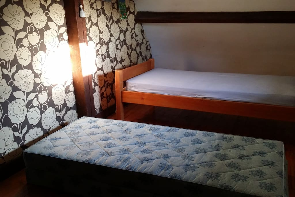 Chambre 4, deux lits de 1 personne orientée plein Ouest vue sur le parc