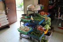 in front of the house you can buy anything like fruit planted in the garden, fresh drinks, snacks for your daily needs and we also provide vegetables from the garden