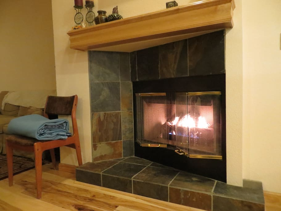 Flick a switch to enjoy the cozy fireplace.