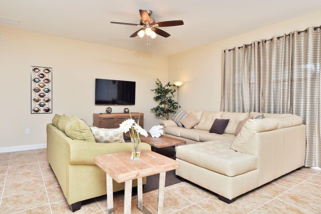 Comfortable, and spacious living room.