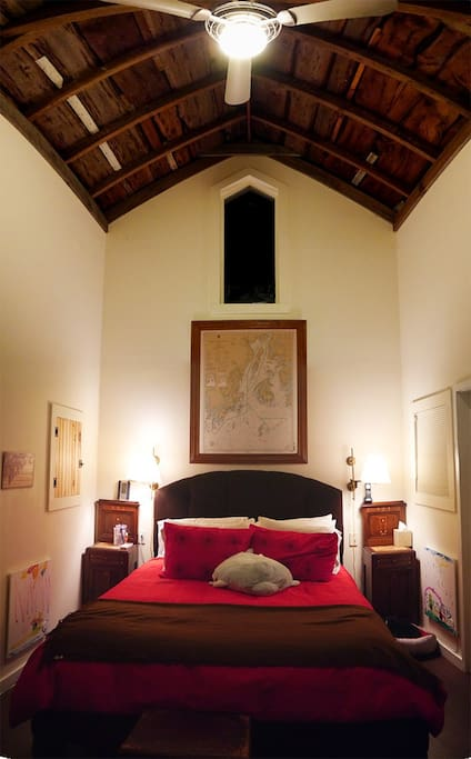 The master bedroom (once the old carriage house)