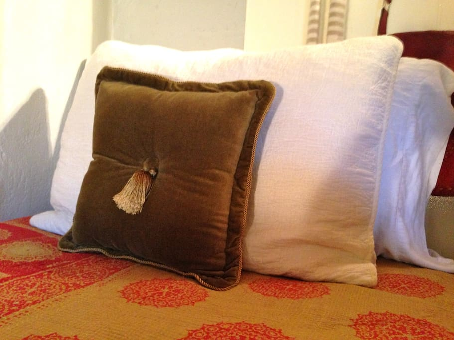 Quality high thread count cotton linens with Vintage Indian Kanthas,