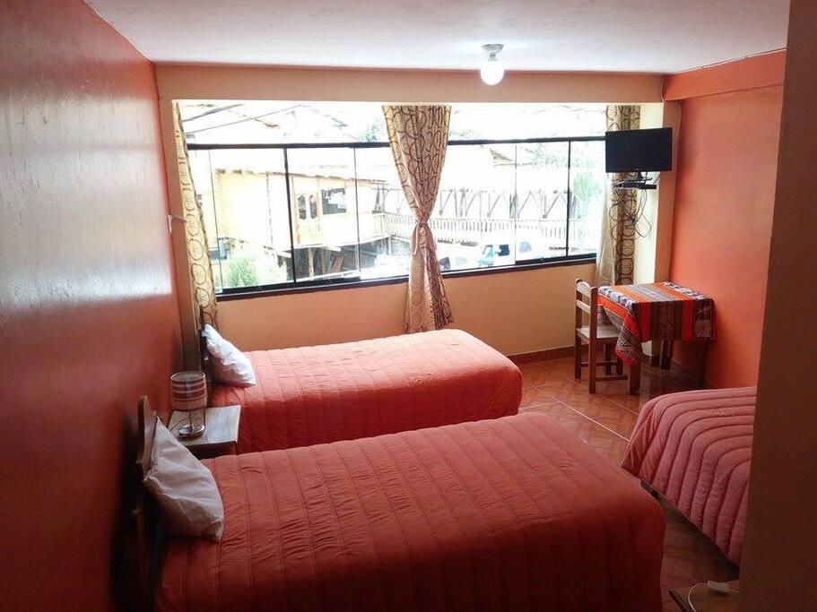 Habitación triple con baño privado , agua caliente y tv cable.