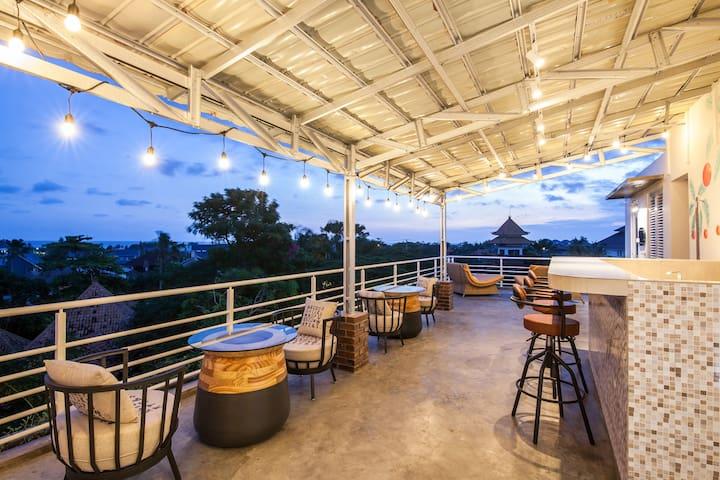 Rooftop bar. Enjoy the breeze off of the Indian Ocean