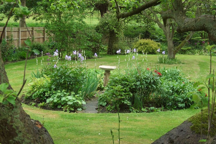 View down the garden to stream and two ponds.