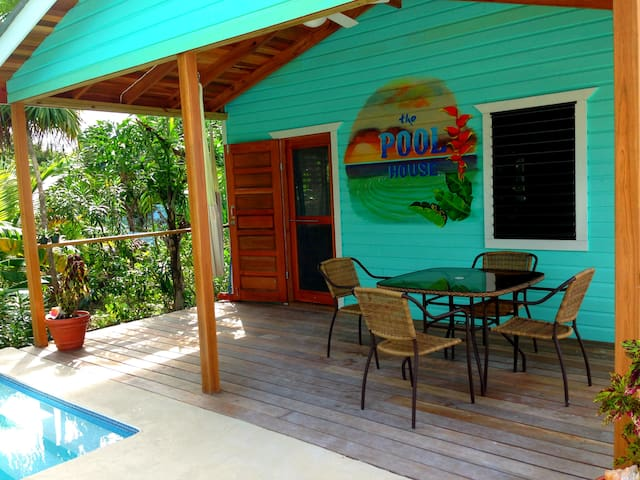 After a dip, why not relax on the deck with a cold drink.