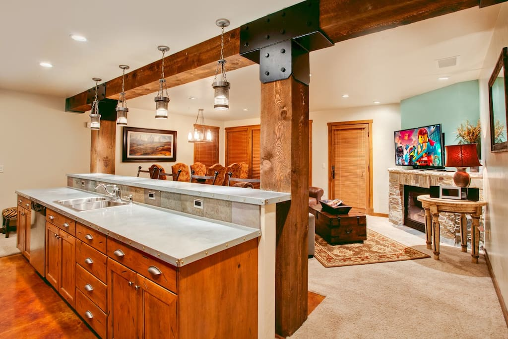 Huge, fully-stocked open kitchen - great for cooking meals with family and friends