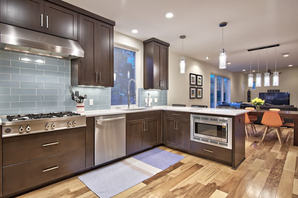 Chef's kitchen with high end appliances.
